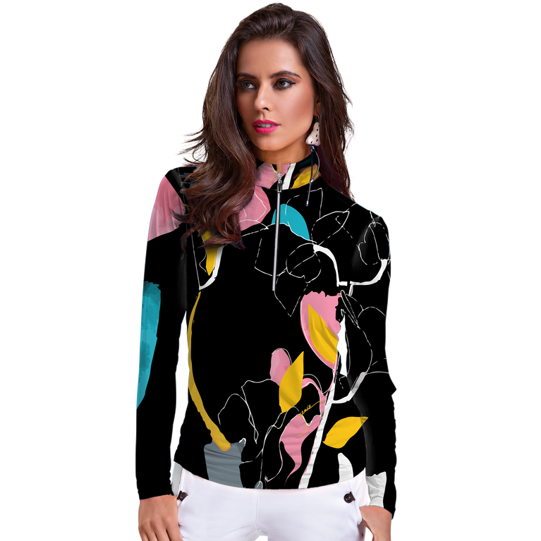 Sunsense Long Sleeve Abstract Floral Print Quarter Zip Pull Over