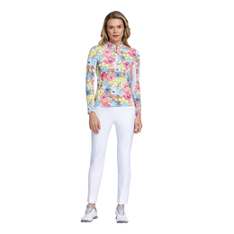 Fun in the Sun Collection: Floral Print Long Sleeve Quarter Zip Pull Over