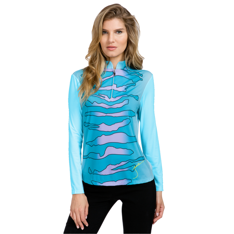 Sunsense: Zebra Print Quarter Zip Pull Over
