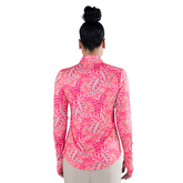 Alternate View 7 of Pink Lady Collection: Long Sleeve Leaf Print Quarter Zip Pull Over