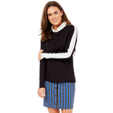 Alternate View 3 of Biltmore Collection: Track Stripe Long Sleeve Top