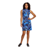 Alternate View 1 of Palm Springs Collection: Danville Frayed Front Print Sleeveless Dress