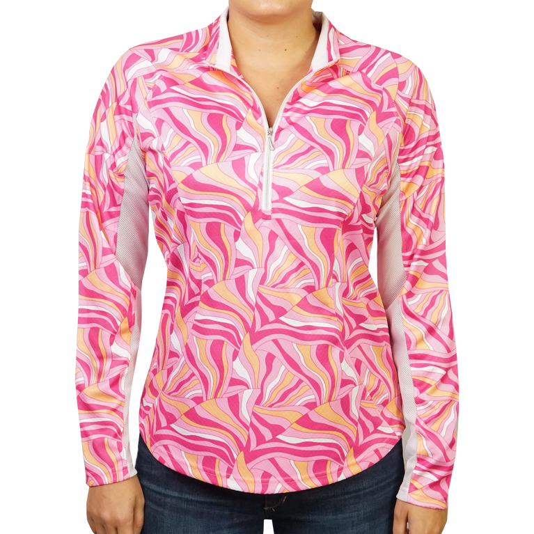 Sonic Pink Printed Quarter Zip Pull Over