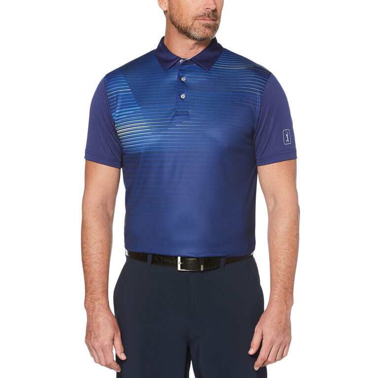 Pro Series Linear Chest Print Short Sleeve Polo Golf Shirt