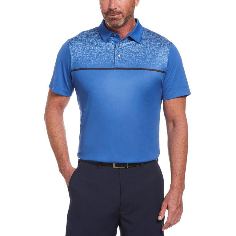 Textured Chest Print Short Sleeve Golf Polo Shirt