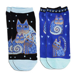 K.Bell Indigo Cats 2-Pair Pack Socks