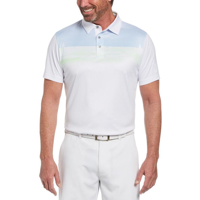 Golf Linear Scenic Print Short Sleeve Golf Polo Shirt