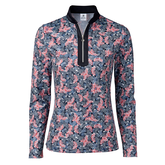 Red Dimension Collection: Malia Long Sleeve Floral Print Quarter Zip Pull Over