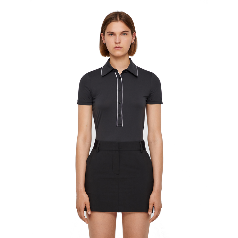 Black and Blue Collection: Flor Trim Short Sleeve Polo