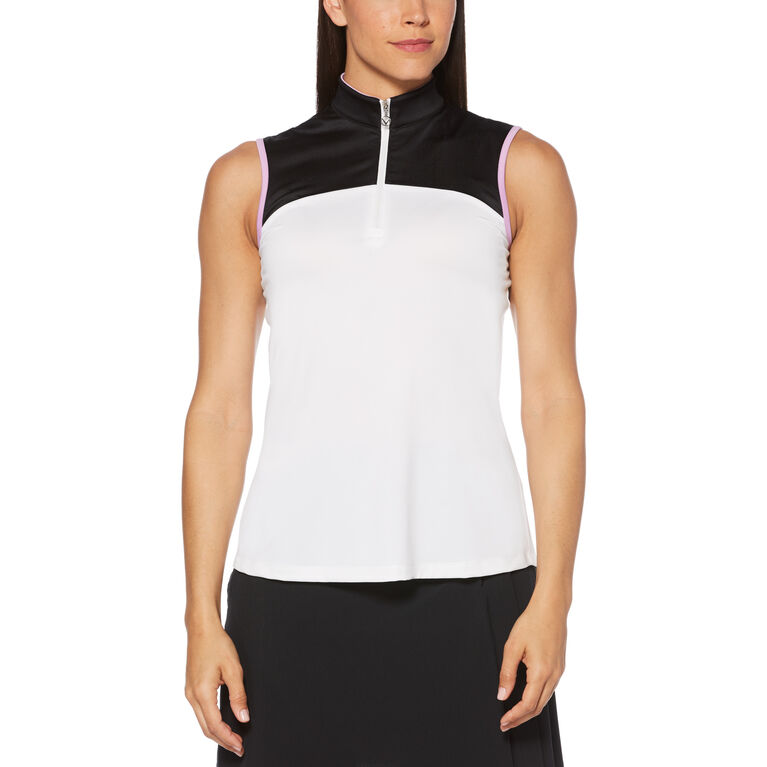 Lilac Collection: Color Block Contrast Pleat Sleeveless Golf Shirt