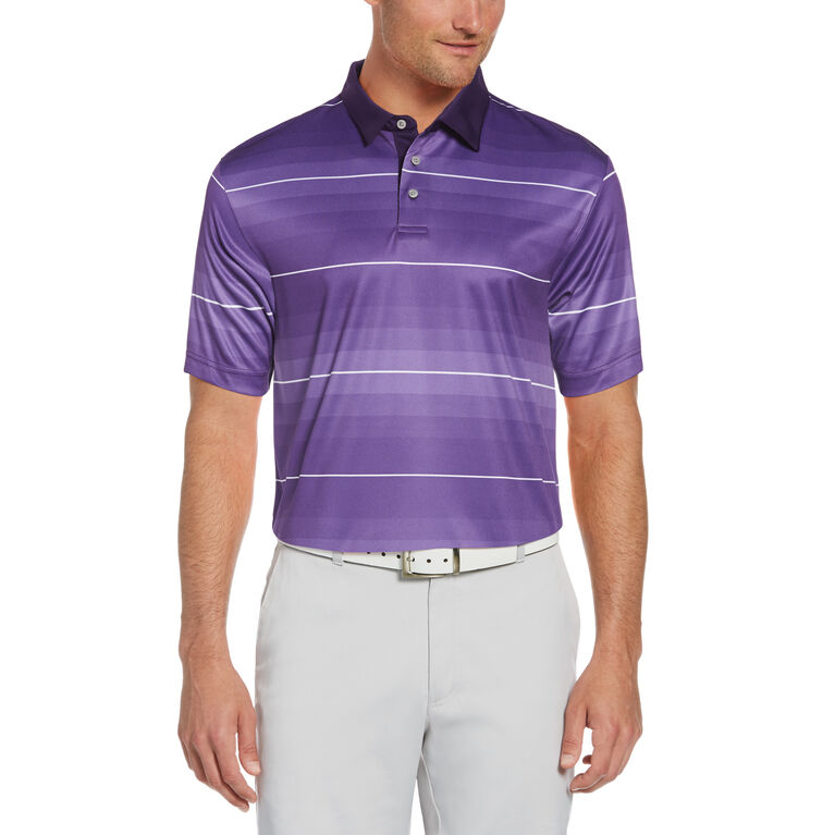 Gradient Stripe Print Short Sleeve Golf Polo Shirt