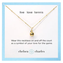 Gold Tennis Charm Necklace