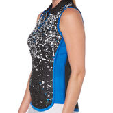 Alternate View 1 of PGA TOUR Black and Blues Collection: Splash Print Sleeveless Golf Shirt