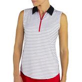 Jofit Prosecco Stripe Sleeveless Zip Polo