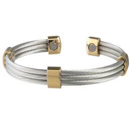Sabona Trio Cable Magnetic Stainless/Gold Bracelet