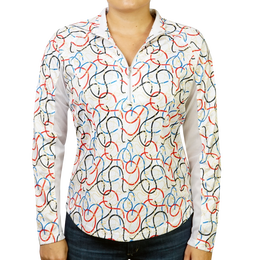 Ribbons Printed Quarter Zip Pull Over
