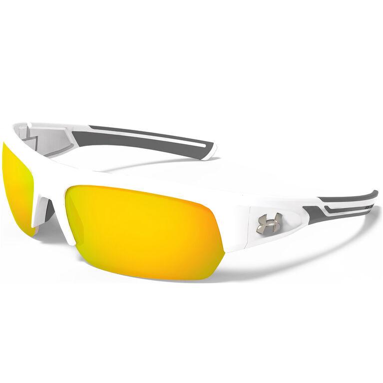 Under Armour Big Shot Sunglasses - Shiny White & Charcoal Gray Frame - Orange Multiflection Lens
