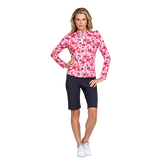 Fun the Sun Collection: Floral Print Quarter Zip Pull Over