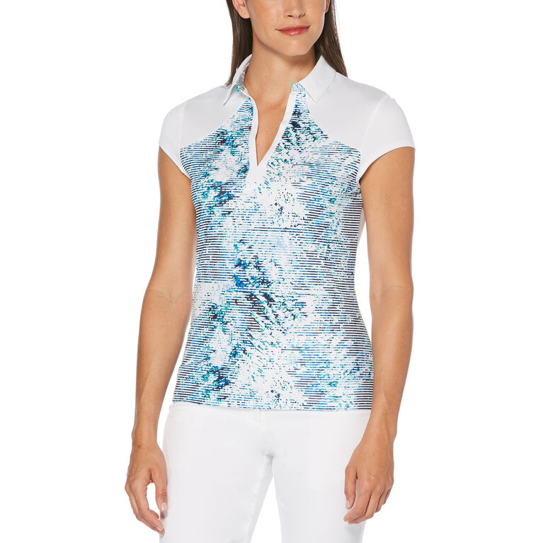 Green Group: Tropic Shades Print Short Sleeve Polo Golf Shirt