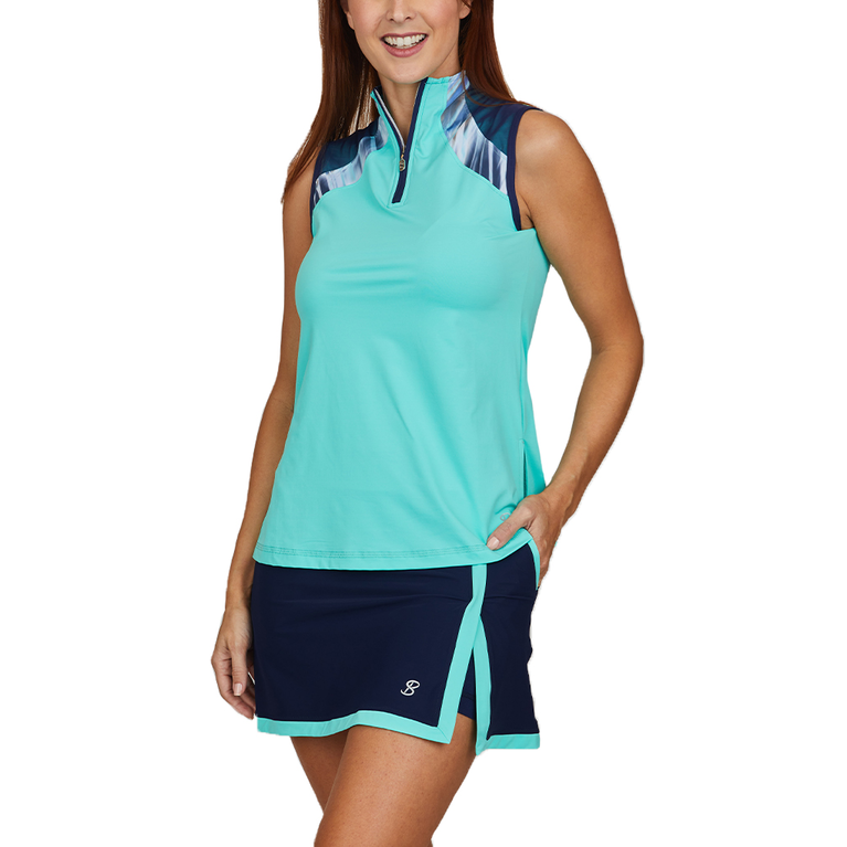 Speed Lines Collection: Sleeveless Sporty Zip Tank Top