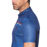Alternate View 2 of Allover Shadow Stripe Print Short Sleeve Polo Golf Shirt