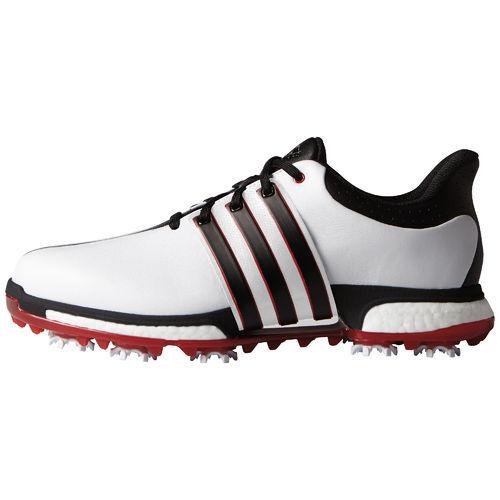 adidas TOUR360 BOOST Men's Golf Shoe- White/Black/Red