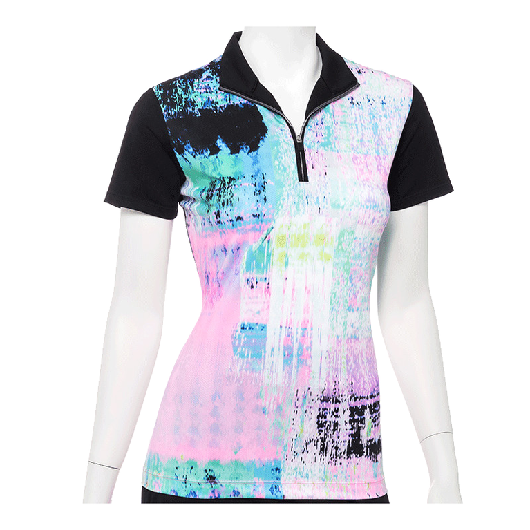 True Colors Collection: Short Sleeve Patchwork Print Zip Polo