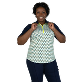 Alternate View 7 of Limonata Collection: Short Sleeve Dot Print Quarter Zip Polo Shirt