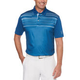 Textured Multi-Colored Chest Stripe Short Sleeve Golf Polo Shirt