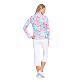Alternate View 3 of Fun the Sun Collection: Flamingo Print Quarter Zip Pull Over