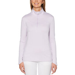 Lilac and Navy Group: Heather Fleece Long Sleeve Golf Sweater