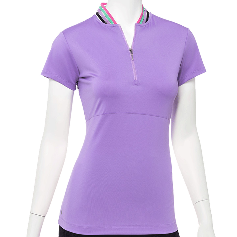 True Colors Collection: Short Sleeve Rainbow Collar Detailed Top