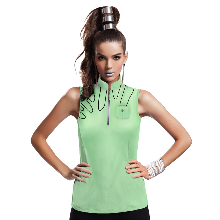 Mint Collection: Embroidered Detail Sleeveless Top
