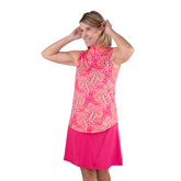 Alternate View 4 of Pink Lady Collection: Sleeveless Leaf Print Mock Shirt