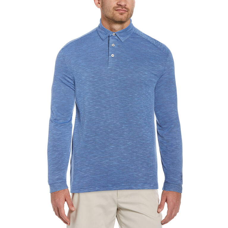 Long Sleeve Slub Golf Polo Shirt