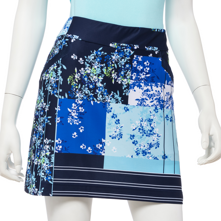 """Out of the Blue Collection: Ditzy Floral Patchwork Print 17"""" Skort"""