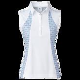 Sue Sleeveless Inset Print Polo Shirt