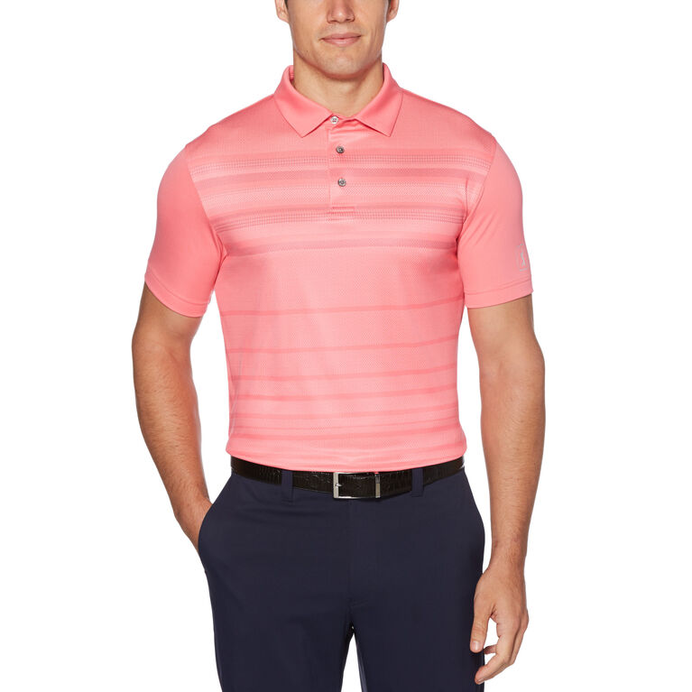 Stacked Herringbone Print Short Sleeve Golf Polo Shirt