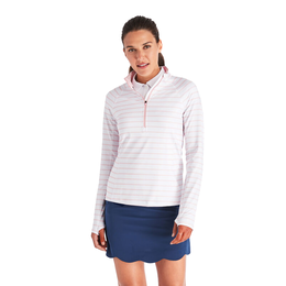 Long Sleeve Striped Performance Quarter Zip