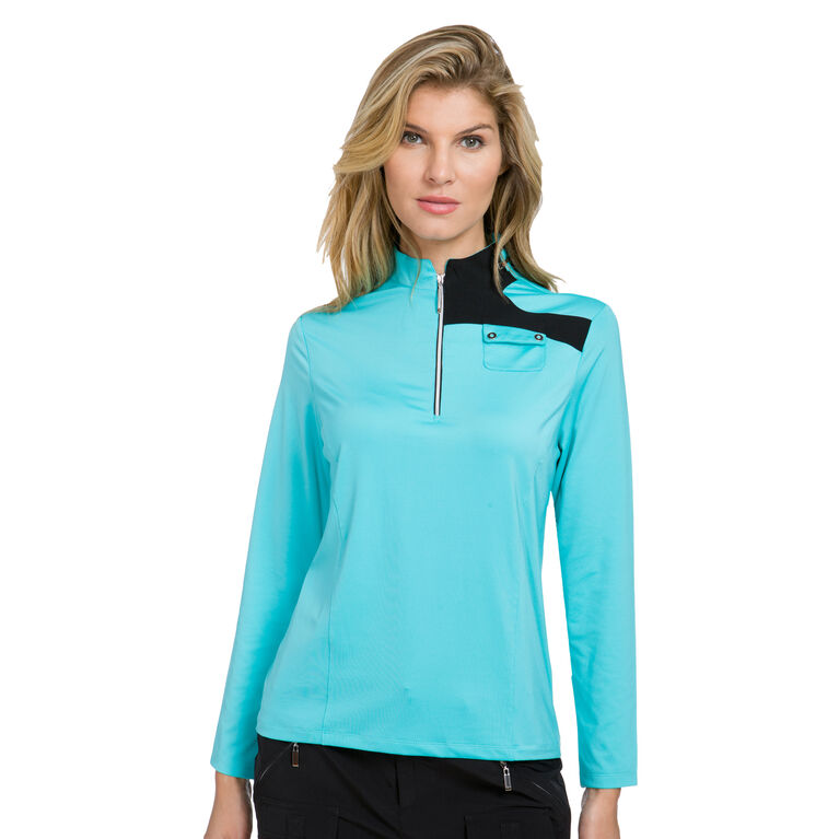 JELLY Group: Long Sleeve Shoulder Patch Quarter Zip Polo