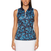 Aqua Group -  Floral Breeze Print Sleeveless Polo Golf Shirt