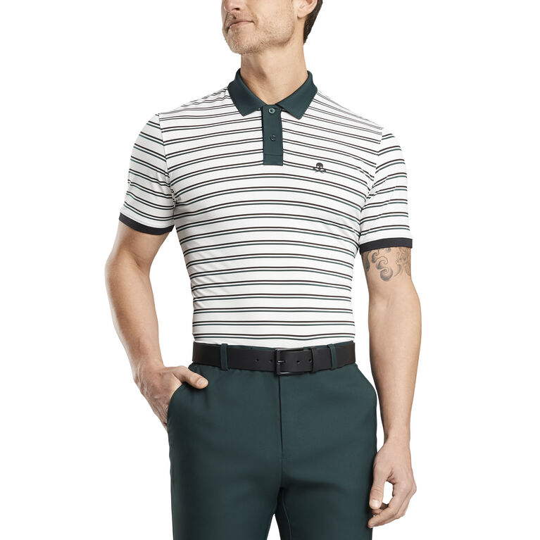 Perforated Skull Stripe Polo