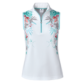 Tropical Sense Spearmint Collection: Debby Floral Print Sleeveless Polo Shirt