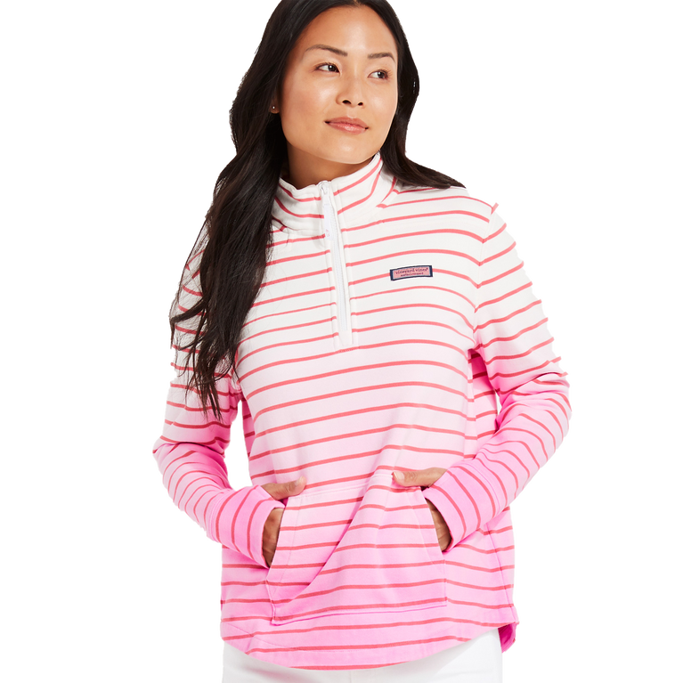 Dip-Dyed Striped Relaxed Quarter Zip Pull Over