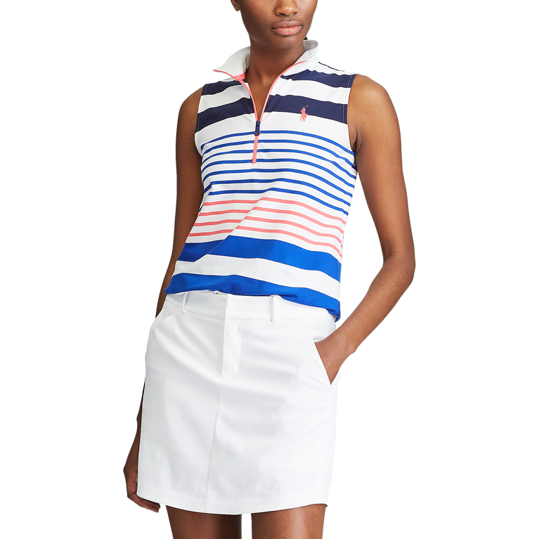 Striped Sleeveless Quarter-Zip Golf Polo