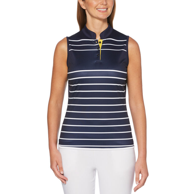 Lilac and Navy Group: Engineered Sleeveless Striped 1/4 Zip Golf Shirt