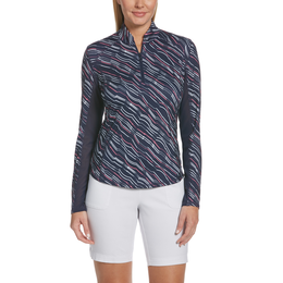 ZigZag Collection: Long Sleeve ZigZag Print Quarter Zip Pull Over