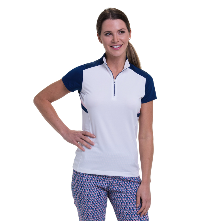 American Beauty Collection: Short Sleeve Angled Blocked Top