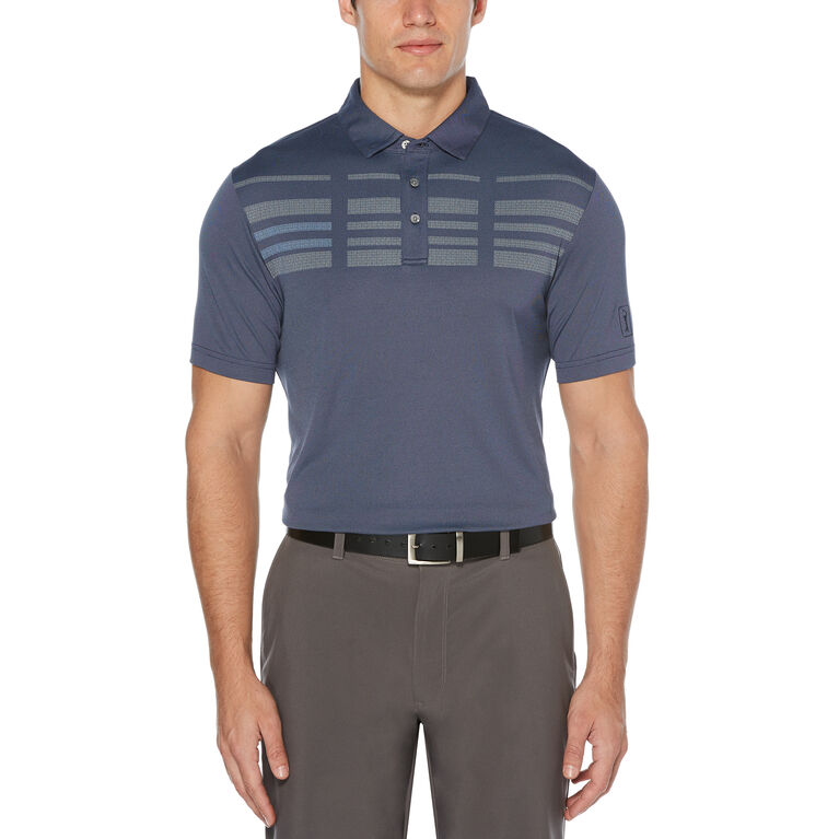 Broken Stripe Oxford Short Sleeve Polo Golf Shirt