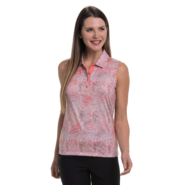 Cargo Chic Collection: Feather Frond Print Sleeveless Polo Shirt